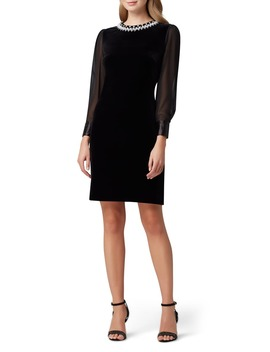 Long Sleeve Stretch Velvet Cocktail Dress by Tahari