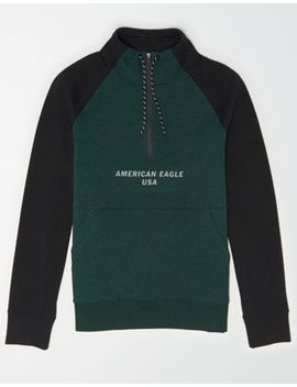 Ae Ne(X)T Level Graphic Quarter Zip Sweatshirt by American Eagle Outfitters