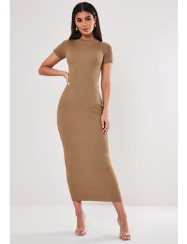 Brown Crew Neck Knitted Midaxi Dress by Missguided