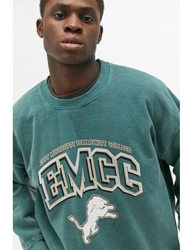 Uo Teal Varsity Crew Neck Sweatshirt by Urban Outfitters