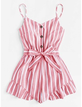 Ruffle Hem Belted Cami Playsuit by Sheinside