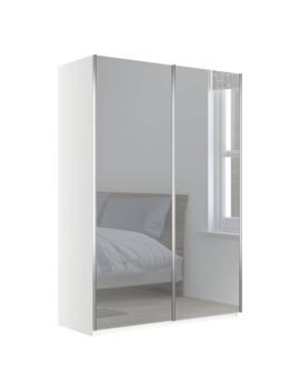 John Lewis & Partners Elstra 150cm Wardrobe With Mirrored Sliding Doors, Mirror/Matt White by John Lewis & Partners