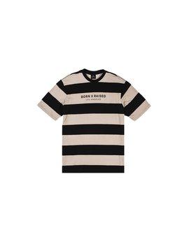 Born X Raised Striped Tee   Black/Khaki by Politics