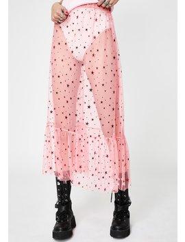 Pink Mesh Star Midi Skirt by New Girl Order