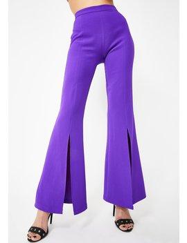 Purple Split Front Flared Leg Trousers by Jaded London