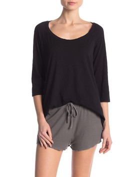 Scoop Neck 3/4 Sleeve T Shirt by Barefoot Dreams