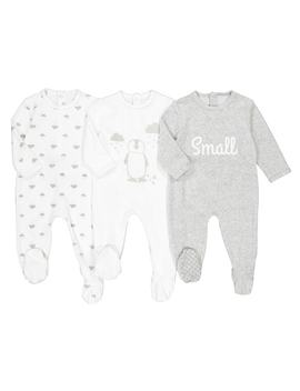Pack Of 3 Velvet Sleepsuits, Birth 3 Years by La Redoute Collections