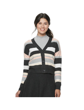 Juniors' Candie's Striped Meet & Greet Cardigan Sweater by Candies