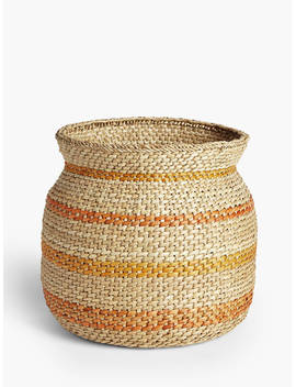 John Lewis & Partners Striped Seagrass Storage Basket by John Lewis & Partners