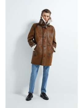 Contrast Double Collar Coat by Zara