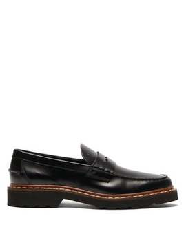 Logo Debossed Leather Penny Loafers by Tod's