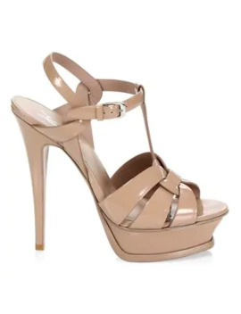 Tribute 105 Mm Patent Leather Platform Sandals by Saint Laurent