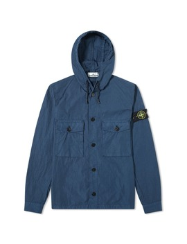 Stone Island Garment Dyed Hooded Button Overshirt by Stone Island