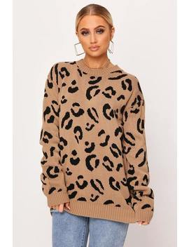 Camel Leopard Print Knitted Jumper by I Saw It First