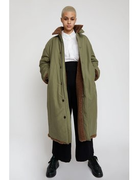 Stand Alone Faux Fur Lined Coat In Khaki by Stand Alone