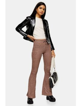 Pink Marl Flare Trousers by Topshop