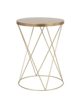 Round Matt Gold Metal Side Table    Lamberto by Maisons Du Monde