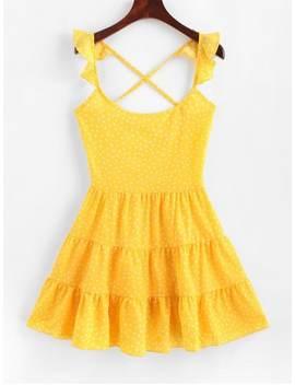 Dotted Lace Up Criss Cross Mini Dress   Yellow M by Zaful