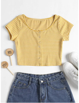 Hot Striped Ribbed Crop Top   Yellow M by Zaful