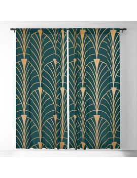 Hidden Sapphire Gold Pattern Blackout Curtain by Society6