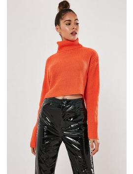 Coral Roll Neck Cropped Jumper by Missguided