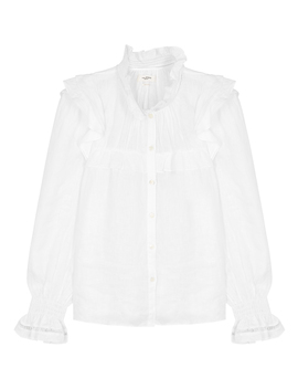 Atedy White Ruffle Trimmed Linen Shirt by Isabel Marant Étoile