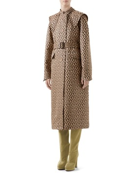 Gg Rhombus Trench Coat With Removable Cape by Gucci