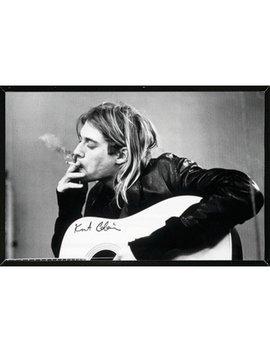 'kurt Cobain Smoking' Framed Graphic Art Print Poster by East Urban Home