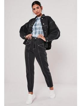 Black Co Ord Black Riot Contrast Stitch Jeans by Missguided