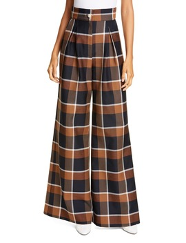 Moon Plaid Pleated Wide Leg Pants by Staud