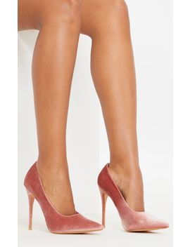 Blush Velvet Court Shoes by Prettylittlething