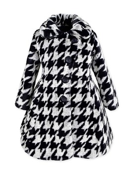 Houndstooth Faux Fur Fit & Flare Coat by Widgeon