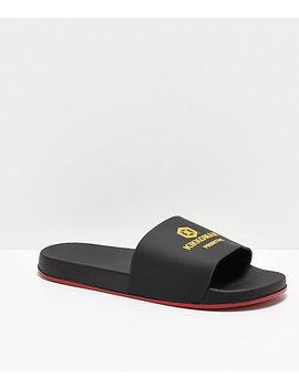 Primitive X Kikkoman Black &Amp; Red Slide Sandals by Primitive