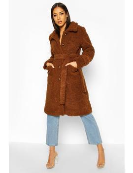 Longline Teddy Belted Coat by Boohoo