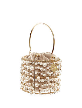 Reah Pearl And Gold Cage Clutch Bag by Rosantica