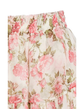 Ruffled Floral Silk Mini Skirt by Love Shack Fancy