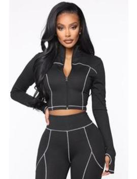 Contender Active Cropped Jacket In Power Flex   Black/White by Fashion Nova