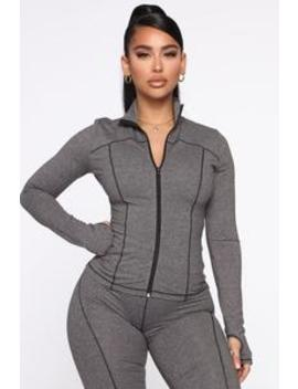 Strictly Tough Active Jacket In Power Flex   Grey by Fashion Nova