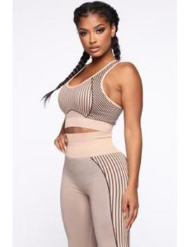 It's A Lifestyle Seamless Top   Mocha/Black by Fashion Nova