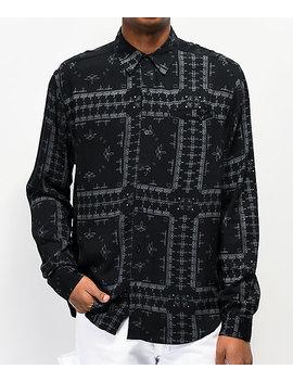 4 Hunnid Bandana Black Woven Long Sleeve Button Up Shirt by 4 Hunnid