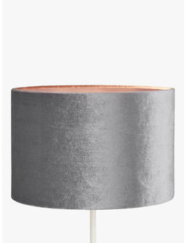 John Lewis & Partners Jenny Velvet Cylinder Lampshade, Grey by John Lewis & Partners