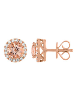 Morganite And Diamond 14kt Rose Gold Earrings by Costco