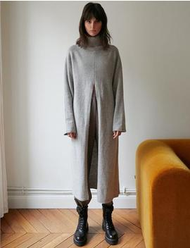 Grey Split Front Sweater Dress by Pixie Market