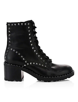 Xin Studded Leather Combat Boots by Ash