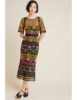 Anthropologie Label Jacquin Embroidered Midi Dress New 6 Holiday Party Gown by Anthropologie