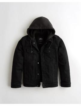 Sherpa Lined Hooded Denim Jacket by Hollister