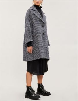 Garly Houndstooth Wool Blend Coat by Maje