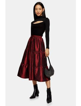 Burgundy Taffeta Tiered Midi Skirt by Topshop