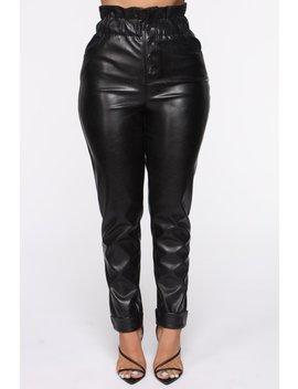 Exposed Paperbag Waist Pants   Black by Fashion Nova