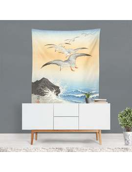 Japanese Tapestry, Birds Wall Art, Japanese Artwork, Japanese Art Print, Sea Wall Hanging, Nature Print, Birds Home Decor, Unique Gifts by Etsy